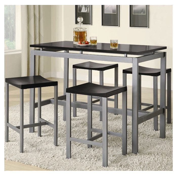 glossy black rectangular pub table with four backless bar stools in grey color white kitchen rug