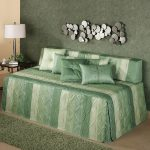 Green And White Striped Pattern Of Day Bed Covers With Pillows Table Lamp And Side Lamp