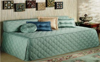 Green Elegant Day Bed Covers And Mattress With Pillows And Small Frames
