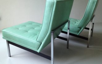 Green Leather Slipper Chair Armless