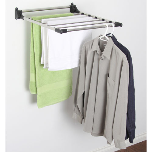 Useful wall mounted drying rack homesfeed - Etendoir a linge mural retractable ...