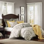 Grey Bedding Sets With Yellow Color For King Size