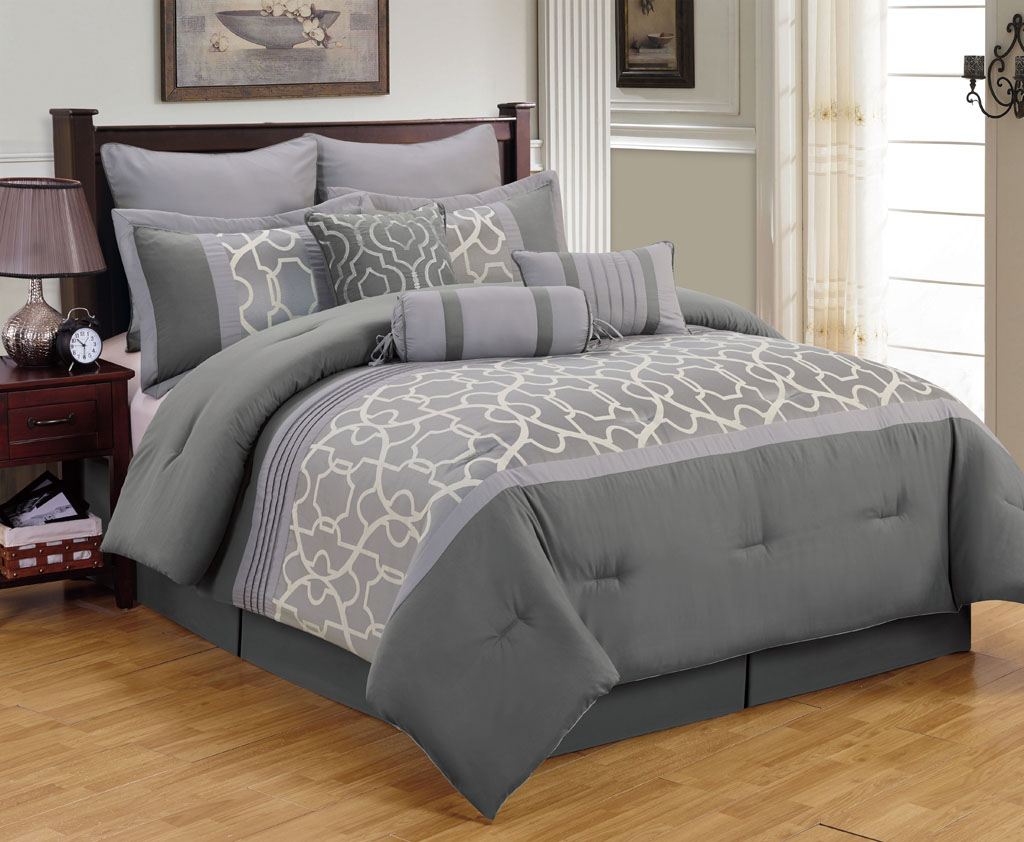 Charcoal is a dark, rich shade of gray that is in between the standard gray bedding set and a black bedding set. Charcoal bedding sets are also considered to be a more masculine option compared to other shades of gray. To add a lighter shade of gray, silver bedding is a great choice.