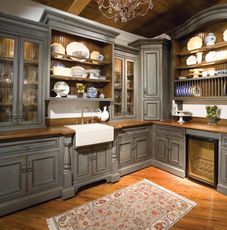 grey old style kitchen cabinets ideas - Ideas For Kitchen Cabinets