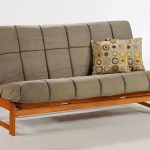 Grey futon for wooden bench with back which can be transformed into a wooden bed frame a pair of accent pillows with beautiful polka dots pattern