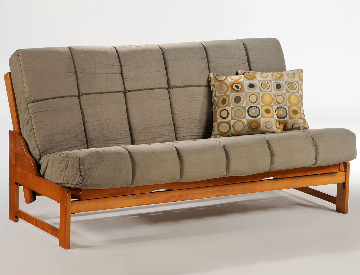Grey futon for wooden bench with back which can be transformed into a wooden  bed frame