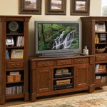 Home Cherry Wood Entertaining Furniture In Living Room For TV And Bookshelves