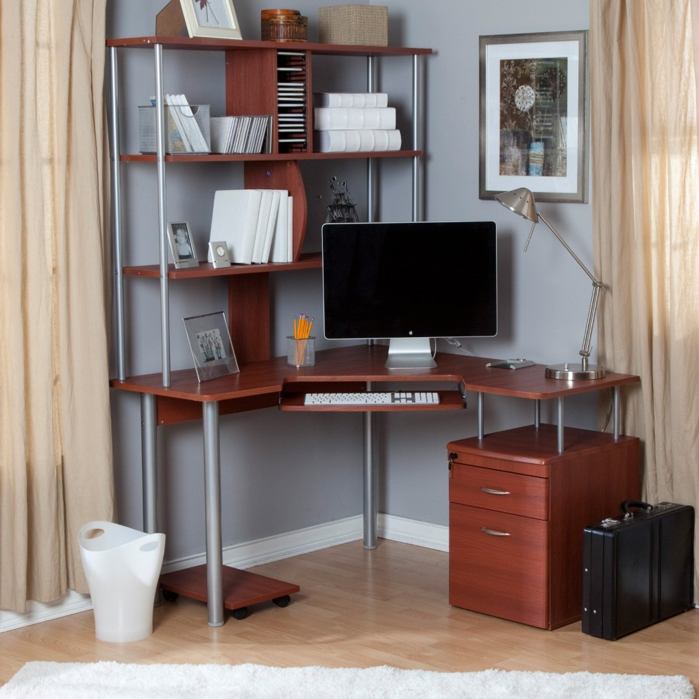 home office corner desk with shelves racks and cabinet near cream curtains