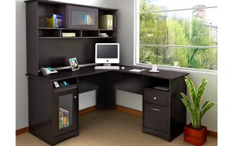 Ikea Black Shaped Corner Desk WIth Shelves And Cabinet