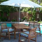 Ikea Patio Umbrella With Wooden Furniture Set On Pool Area