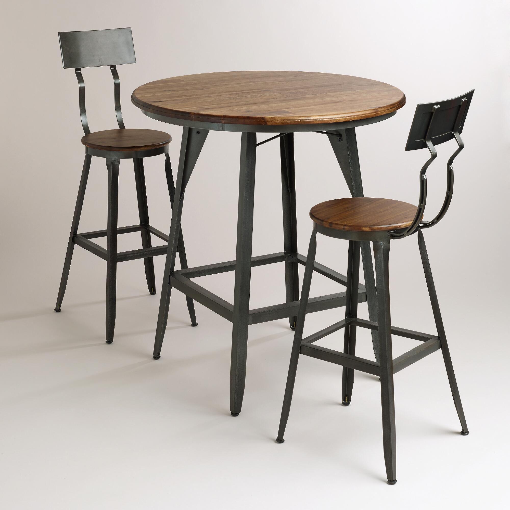 Industrial Round Pub Table With Two Chairs