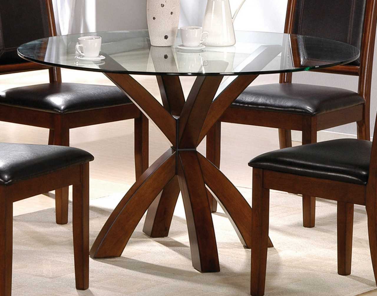 Dining room table bases for glass tops - Interior Furniture Of Round Dining Table With Glass On Top Surface And Black Four Chairs
