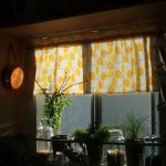 Kitchen Half Window Curtains With Orange Color Of Polcadot Design