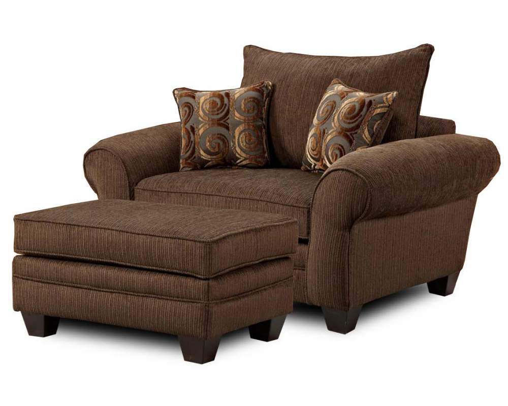 Amazing Large Brown Lounge Chair With A Pair Of Accent Pillows And An Ottoman Table