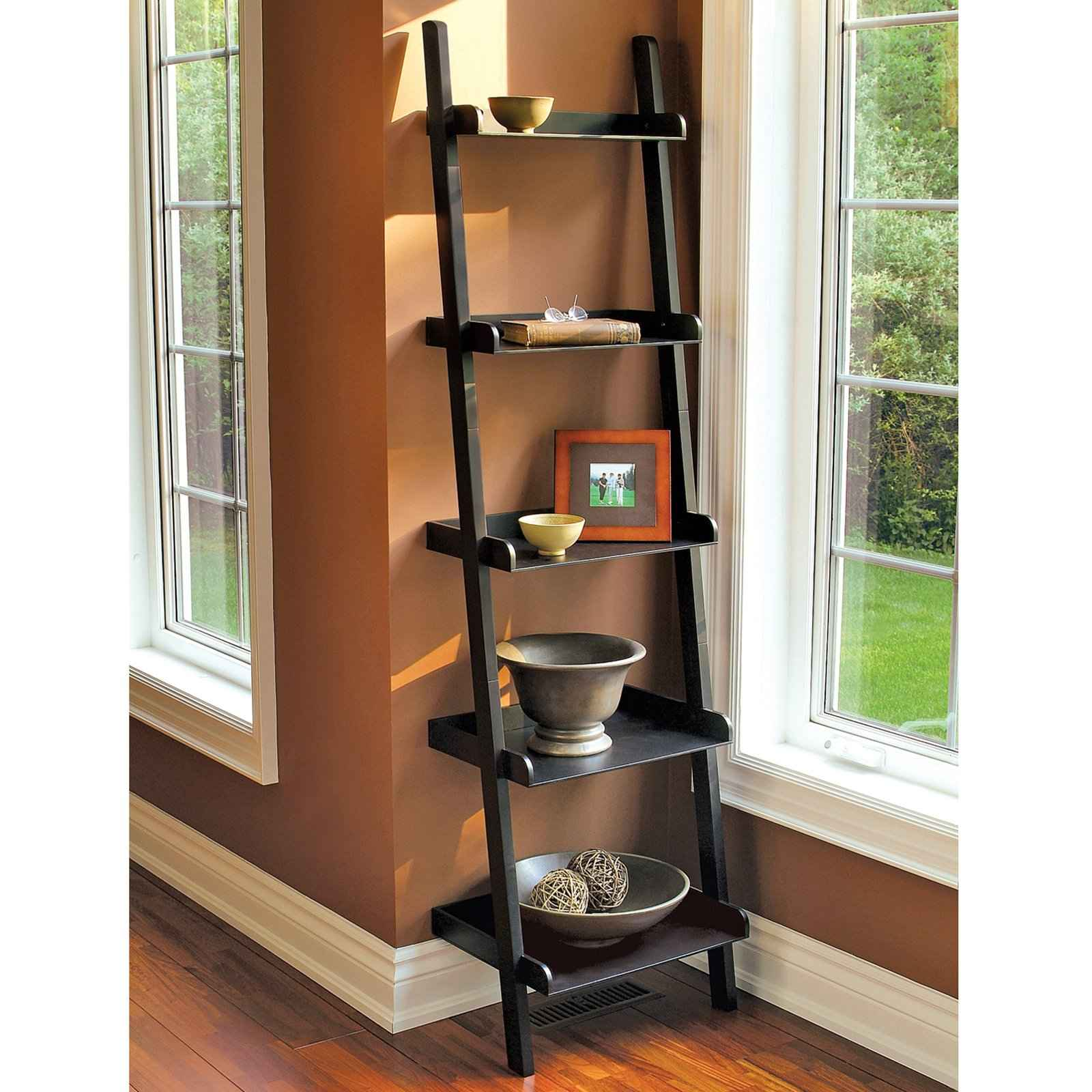 Leaning Ladder Bookshelf For Room Corner Near Windows