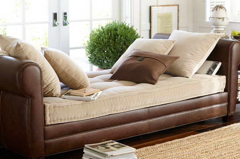Leather Pottery Barn Daybed Furniture With Cream Mattress And Cream Pillows  And Also A Smaller Brown