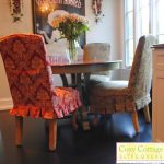 Light And Dark Parson Chairs Slipcover Design Style Around Round Wooden Table