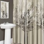 Light grey cloth shower curtain with fall theme a line of chrome curtain rod with ring clips free standing sink for bathroom with faucet white framed mirror white shower mat