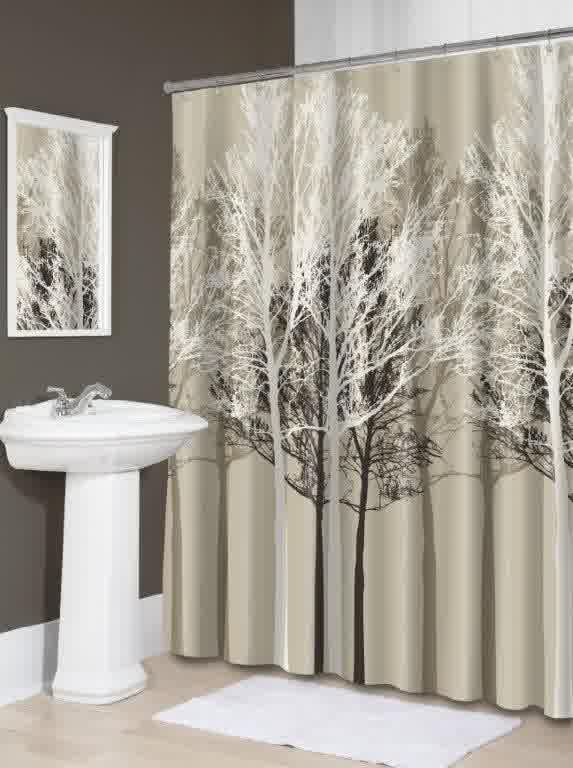 Light Grey Cloth Shower Curtain With Fall Theme A Line Of Chrome Curtain Rod  With Ring