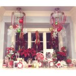 Lighted Window And Lighting Christmas Decoration With Red And White Color