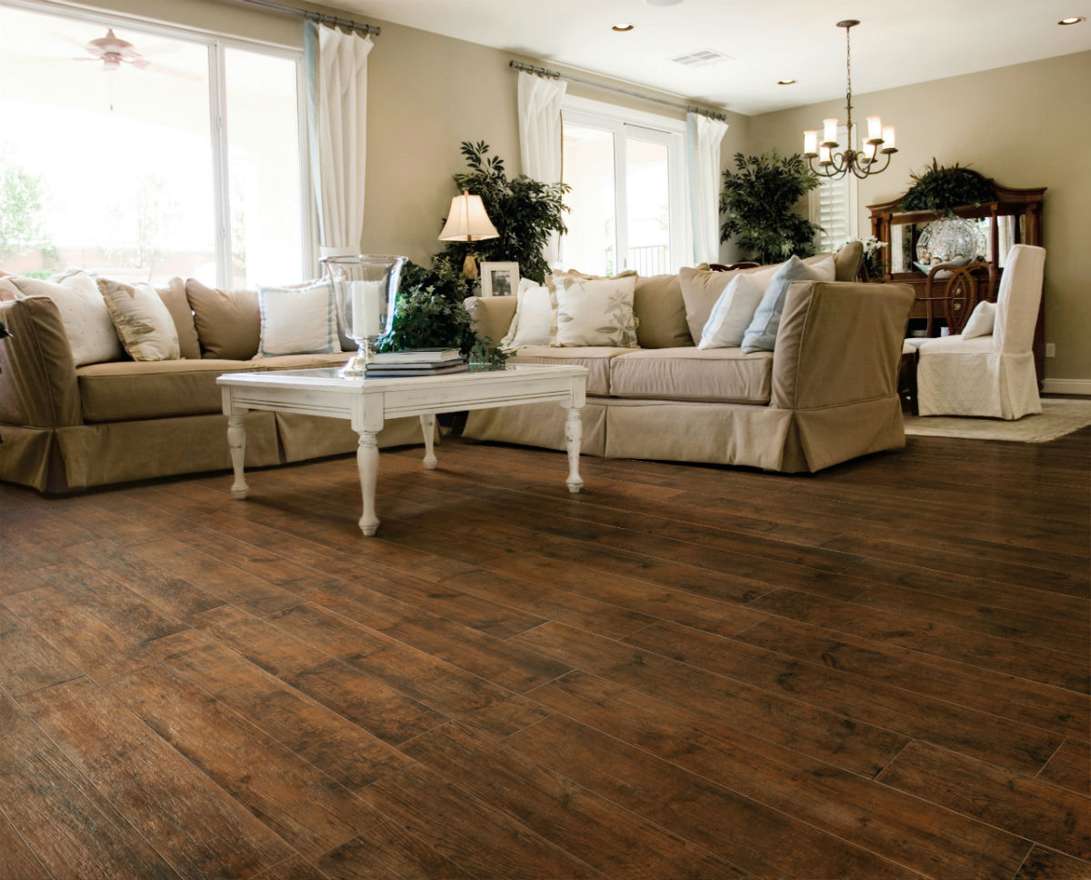 Living Room with Dark Wood Floors | HomesFeed