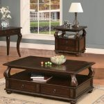 Living Room Wooden Cocktail Rectangular Table Set And Small Rug