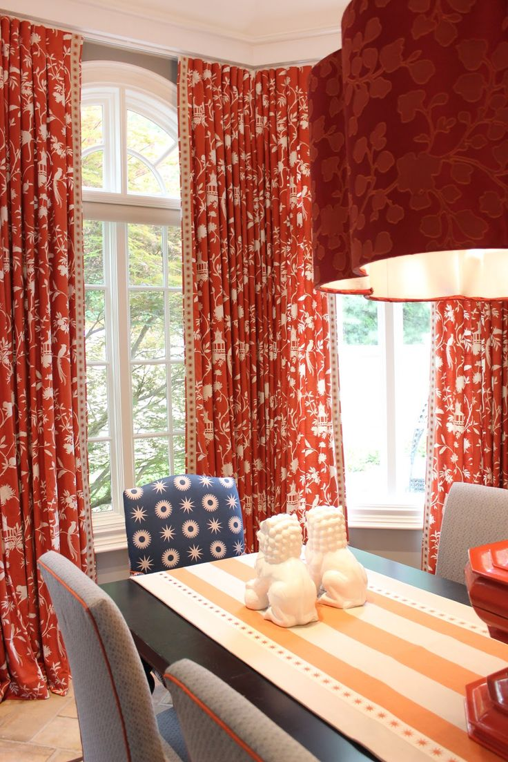 Long And Stylish Red Toile Curtains For Dining Room Part 85