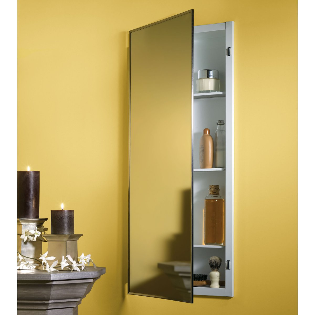 Etonnant Long Medicine Cabinet Design With Big Mirror. Medicine Cabinet Mounted Wall