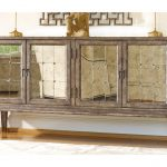 Long Mirrored Console Cabinet With Four Main Storage