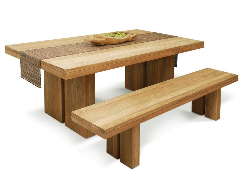 Long Wooden Bench With Real Wood Dining Table. Real Wood Dining Table Review   HomesFeed
