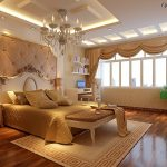 Luxury European Ceiling Bedroom Designs With Elegant Chandelier And Gold Bed Theme
