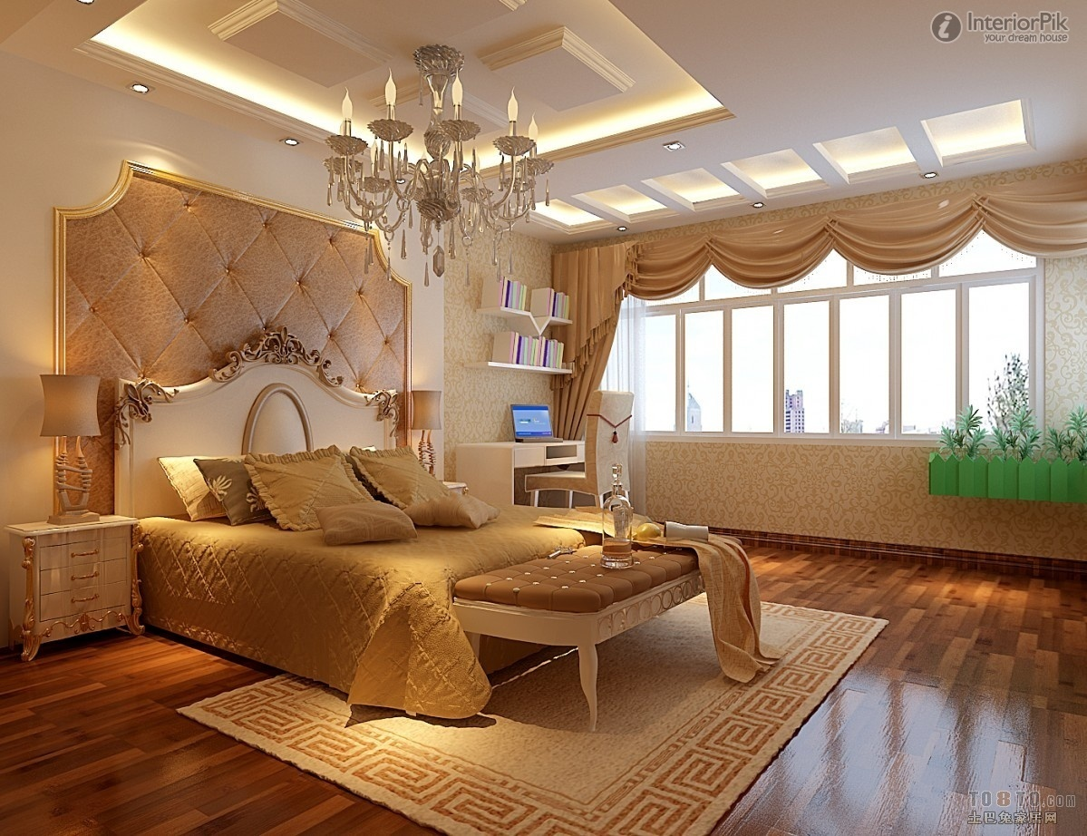Ceiling Bedroom Designs Homesfeed Luxury European Elegant Chandelier Gold Bed