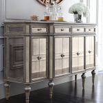Luxury Mirrored Console Cabinet Under Round Mirror