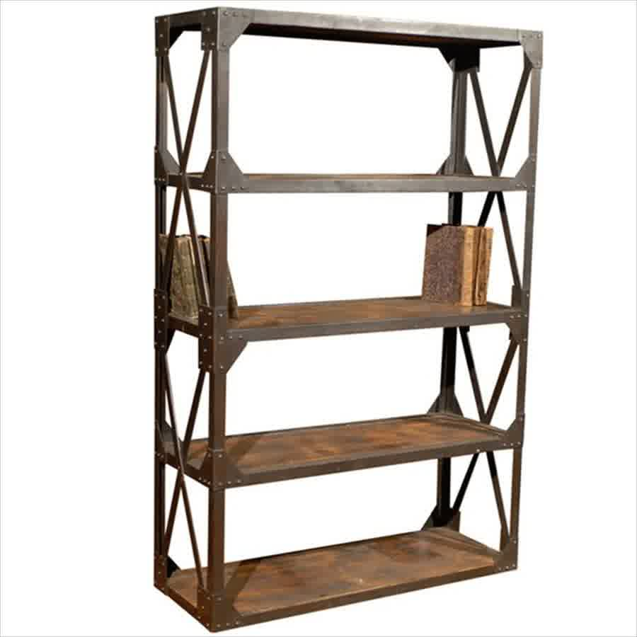 metal and wood bookcase for creating warm modern blend look homesfeed. Black Bedroom Furniture Sets. Home Design Ideas