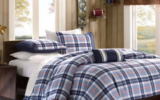 Mi-Zone-Elliot-Plaid-Comforter-Set-for-men-bedroom-in-checkered-pattern-with-charming-blue-color-and-has-200-gram-poly-fill-and-high-quality-polyester