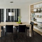 Minimalist Dining Set With Dark Chairs And Wooden Table With Cabinet