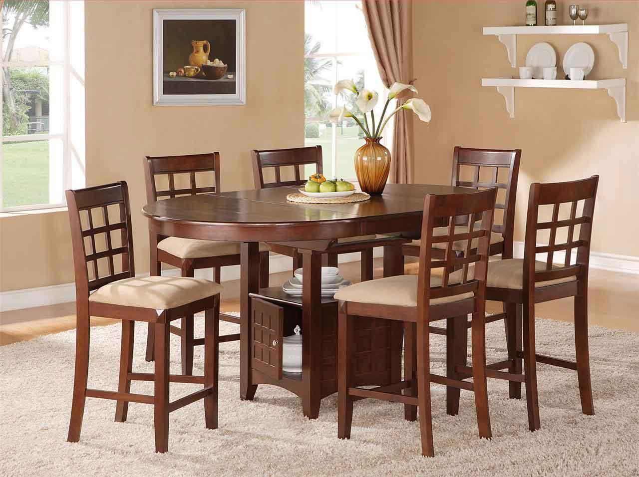 Minimalist Wood Dining Set With Large Fur Rug