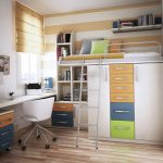 Minimalist loft bed idea designed by IKEA with colorful drawer system a desk with drawers a white chair with wheels white bookcase with under colorful drawers