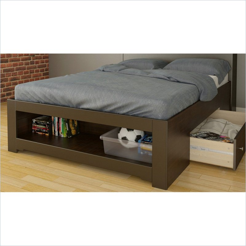 Full bed frame with storage a smart solution for extra for Platform bed with drawers ikea