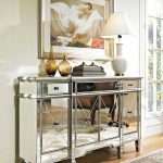 Mirrored Console Cabinet WIth Drawers And Decorations