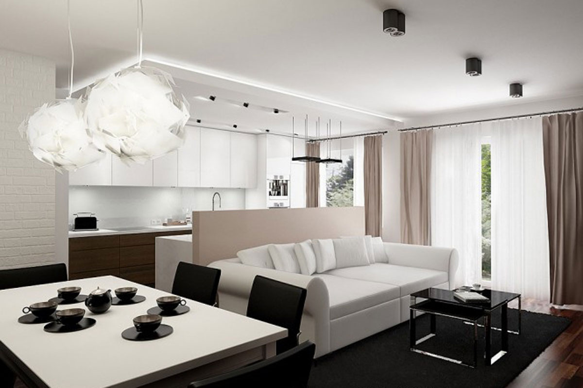 modern apartment interior design for white living room - Interior Design Apartments