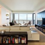 Modern Apartment Interior For Living Room WIth Bookshelfs