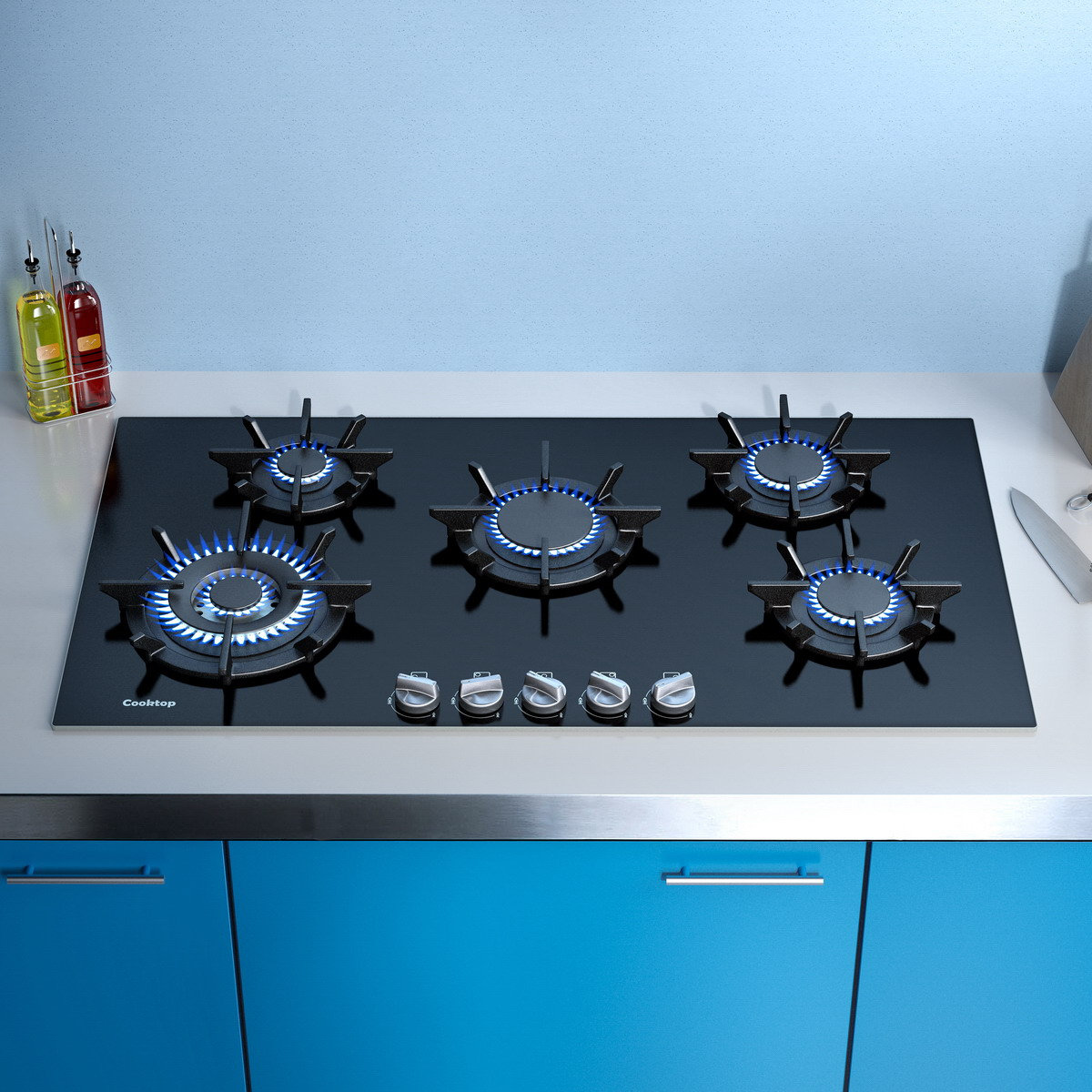 modern gas stove top. Modern Black Built In Stove With Blue And White Cabinet Color Gas Top A
