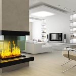 Modern Fireplace Design Wall Through In Living Room With White Sofa And Wall