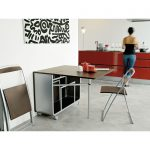 Modern Folding Kitchen Dining Table With Foldable Chairs