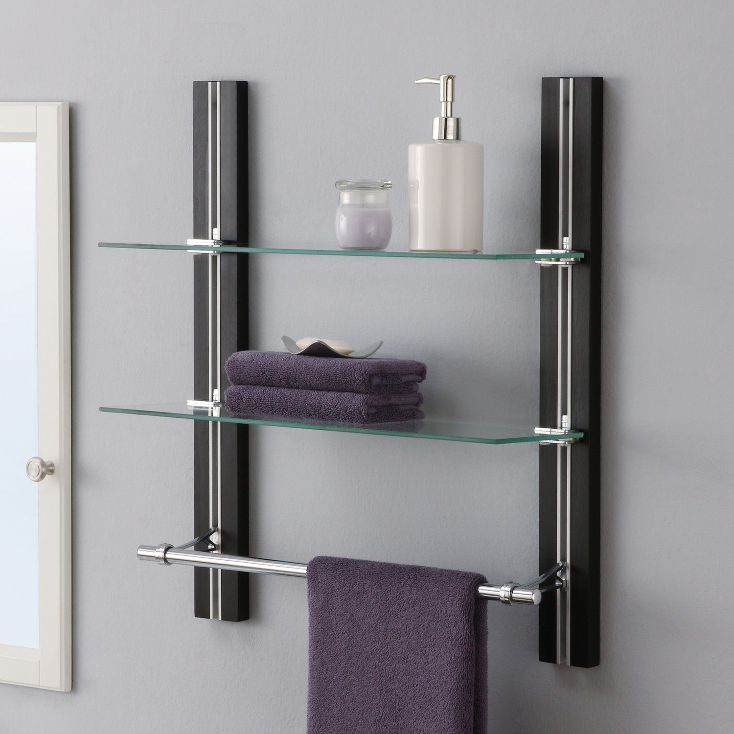 Complete your bathroom with storage for towel homesfeed for Modern glass bathroom
