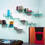 Modern Stylish Wall Shelves Design For Books With Transparent Blue Glass
