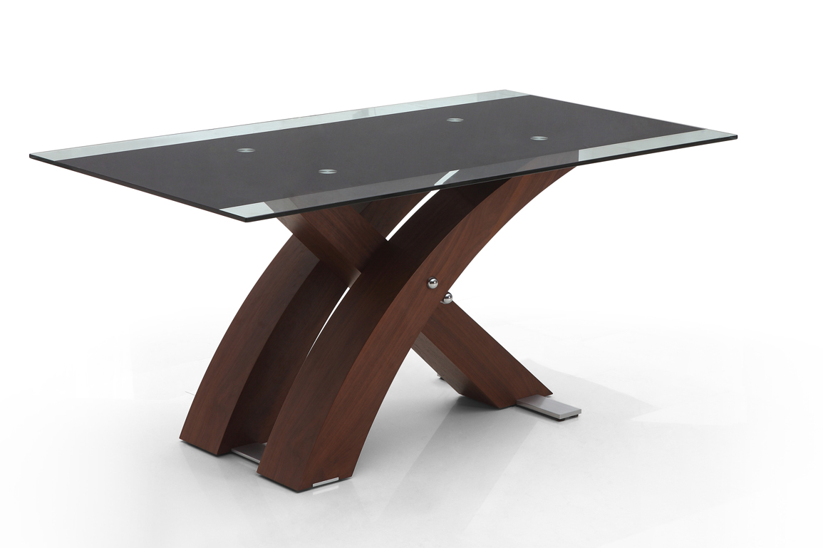Modern Wooden Dining Table With Rectangular Glass On Top