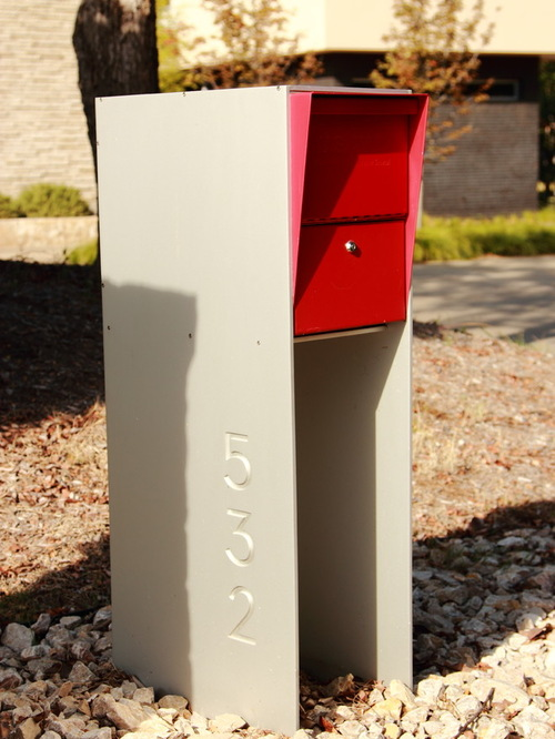 Mailbox Stand Designs : Mid century modern mailbox design and color options