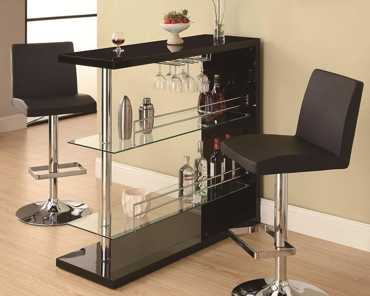 Modern Minimalist Rectangular Pub Table In Black With Transparent Under  Shelves A Pair Of Modern Bar